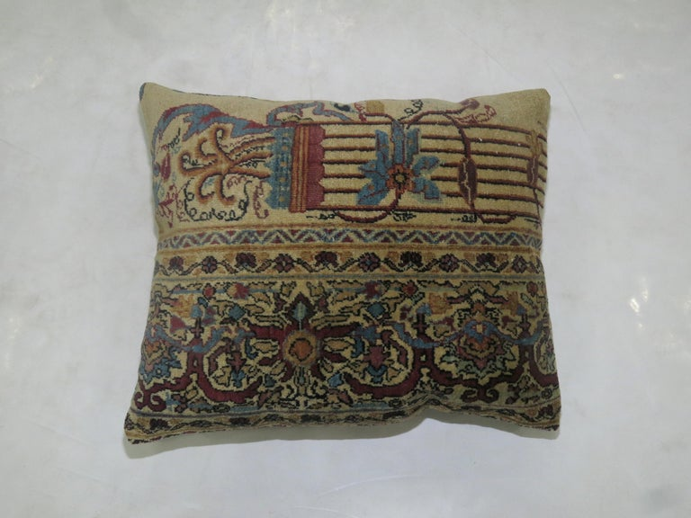 Set of pillows made from a 19th century Persian Kerman rug. Both measure 16'' x 19''.