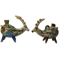 Pair of Persian Mythological Ceramic Vessel