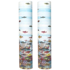 Pair of Perspex Lamps Aquario Medio by Barnaba Fornasetti, Italy, 1995