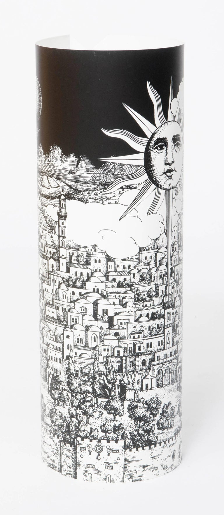 "A pair of table lamps by Barnaba Fornasetti ""Gerusalem"" Printed and colored perspex Made by Fornasetti and Antonangeli Iluminazione. Paderno Dugano. Italy, 1995 Measures: 60 cm H x 25cm W."
