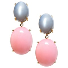 Pair of Peruvian Pink Opal Grey Moonstone 18 Karat Yellow Gold Drop Earrings
