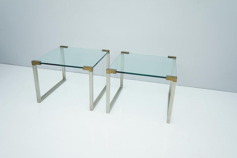 Mid-Century Modern Pair of Peter Ghyczy Side Tables in Glass and Brass, 1970s For Sale