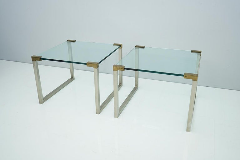 European Pair of Peter Ghyczy Side Tables in Glass and Brass, 1970s For Sale