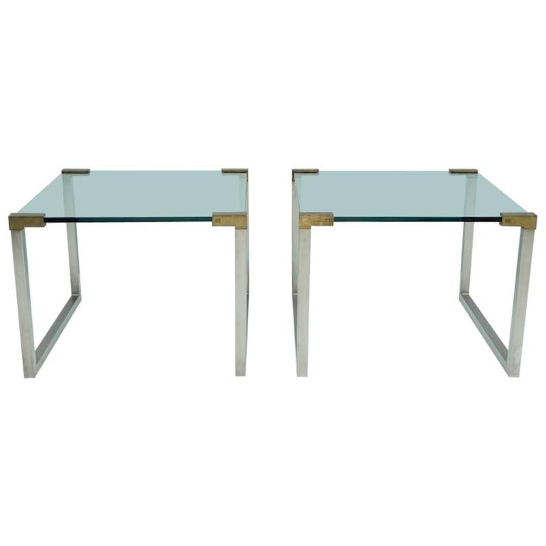 Pair of Peter Ghyczy Side Tables in Glass and Brass, 1970s For Sale