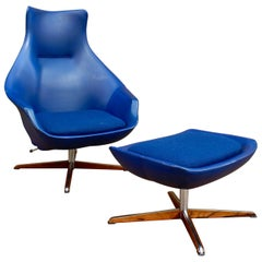 Pair of Peter Hoyte Lounge Chairs with Footstools, 1960s