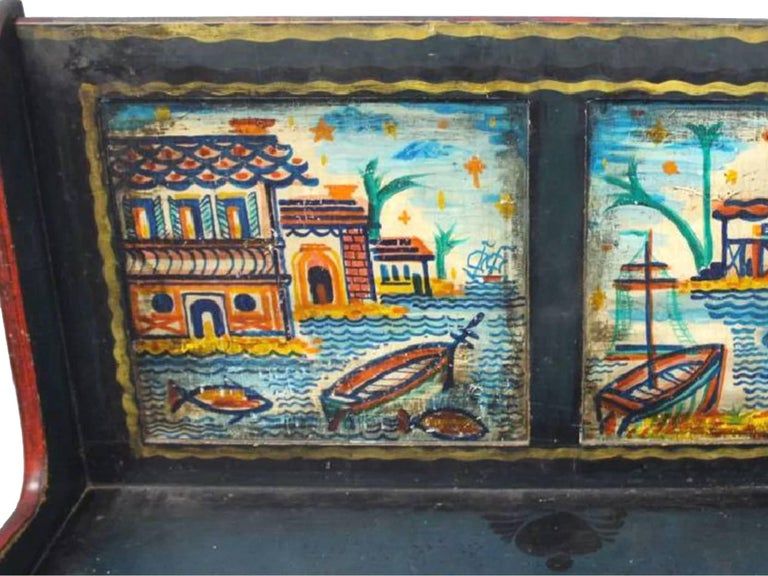 Pair Of Peter Hunt Hand Painted And Signed Benches At 1stdibs