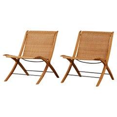 """Pair of Peter Hvidt & Orla Mølgaard-Nielsen """"Model 6103 X-Chairs"""" for Fritz Hans"""