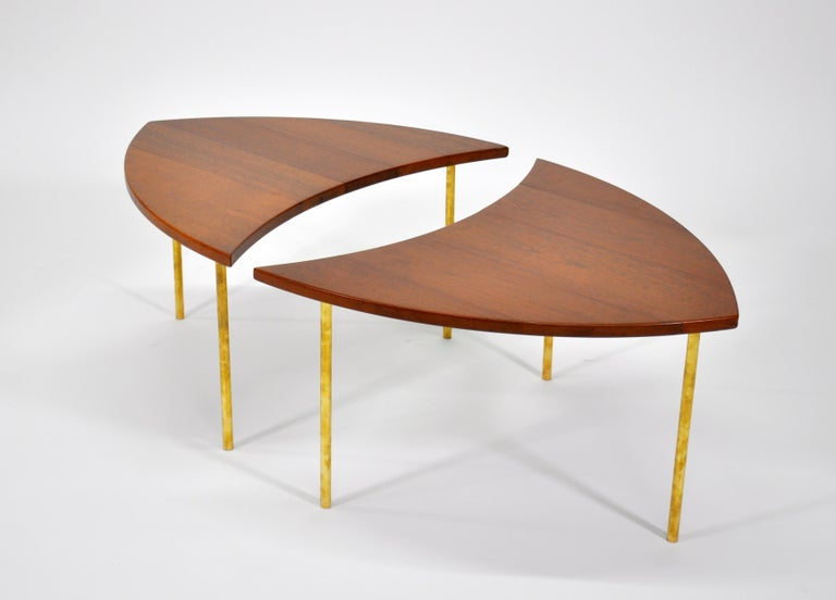 Mid-Century Modern Pair of Peter Hvidt Teak and Brass Side Tables For Sale