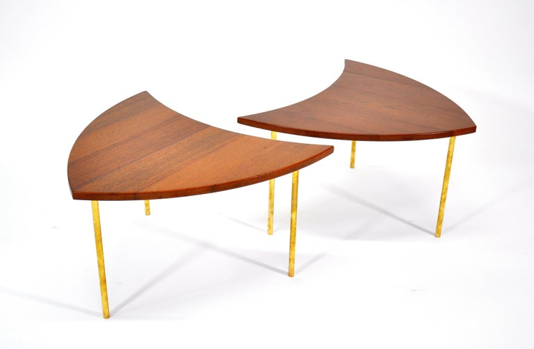 Danish Pair of Peter Hvidt Teak and Brass Side Tables For Sale