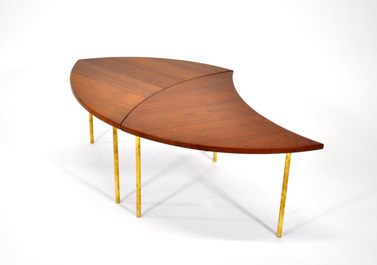 Pair of Peter Hvidt Teak and Brass Side Tables In Good Condition For Sale In Miami, FL