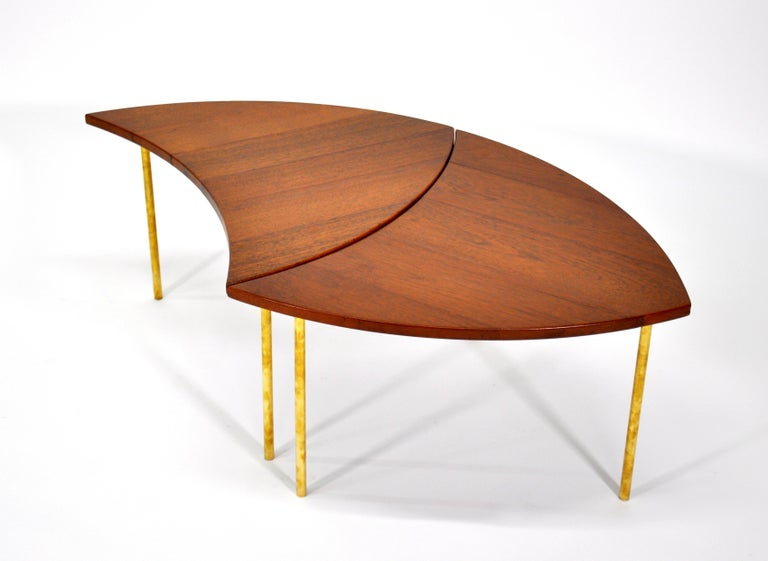 Mid-20th Century Pair of Peter Hvidt Teak and Brass Side Tables For Sale