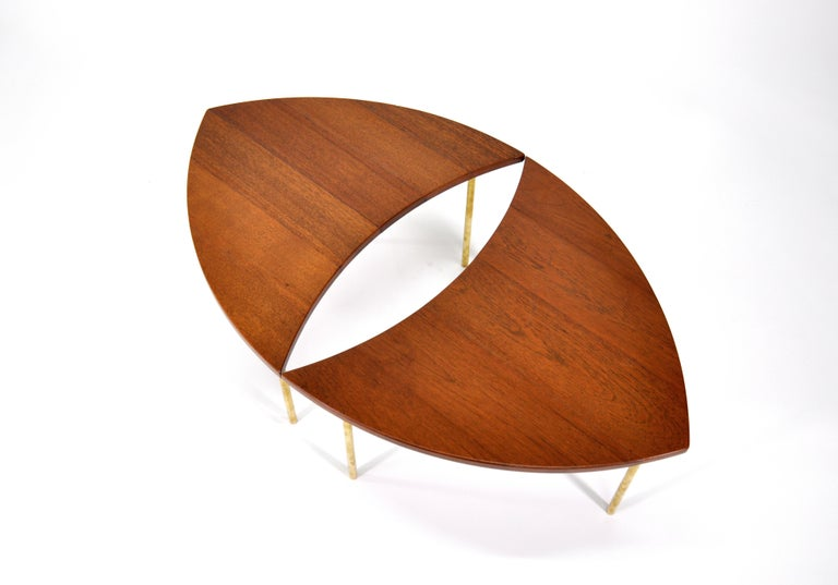 Pair of Peter Hvidt Teak and Brass Side Tables For Sale 2