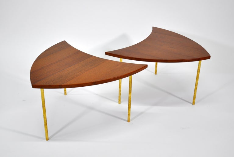 Pair of Peter Hvidt Teak and Brass Side Tables For Sale 3