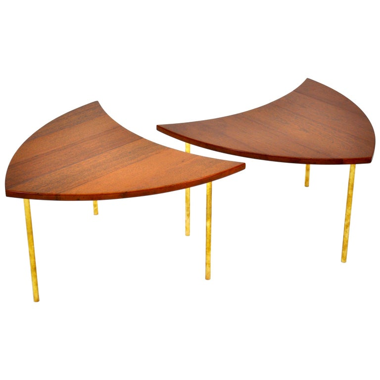 Pair of Peter Hvidt Teak and Brass Side Tables For Sale