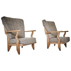 Pair of Petit Repos, Guillerme et Chambron with Original Fabric, 1960