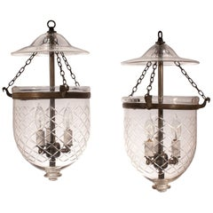 Pair of Petite 19th Century Bell Jar Lanterns with Diamond Etching