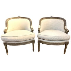 Pair of Petite 19th Century French XVI Style Carved Chairs
