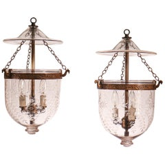 Pair of Petite Antique Bell Jar Lanterns with Grape Etching