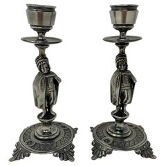 Pair of Petite Antique Silvered Metal Figural Candlesticks, circa 1890