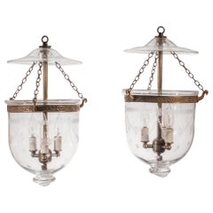 Pair of Petite Bell Jar Lanterns with Federal Etching