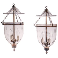 Pair of Petite Bell Jar Lanterns with Star Etching