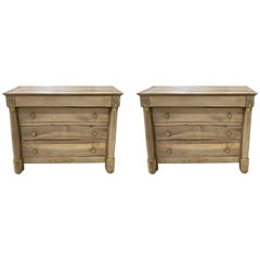 Pair of Petite Bleached French Empire Style Four-Drawer Commodes