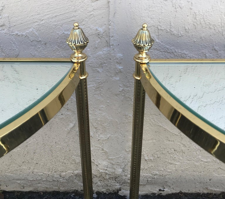 Pair of Petite Brass Demi Lune Tables by Maison Jansen For Sale 5