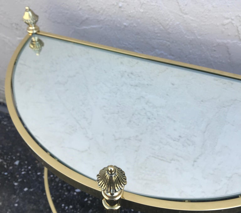 Pair of Petite Brass Demi Lune Tables by Maison Jansen For Sale 10