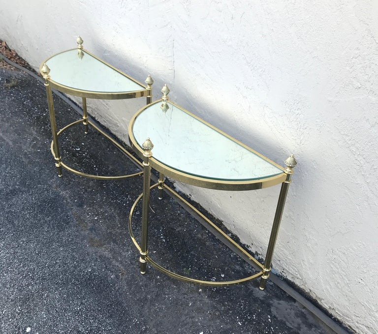 French Pair of Petite Brass Demi Lune Tables by Maison Jansen For Sale