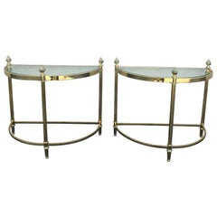 Pair of Petite Brass Demi Lune Tables by Maison Jansen