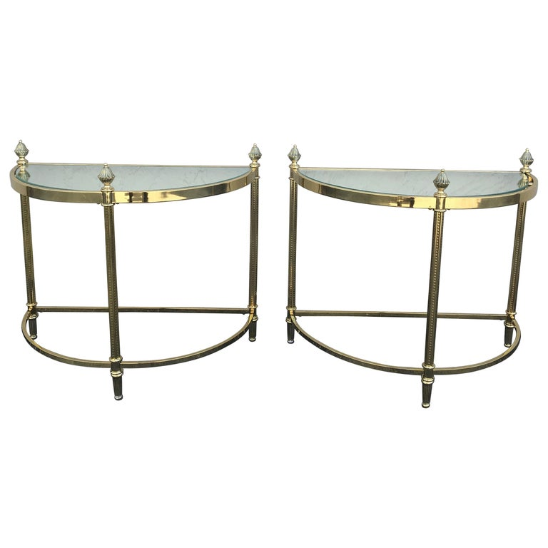 Pair of Petite Brass Demi Lune Tables by Maison Jansen For Sale