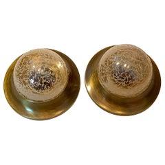 Pair of Petite Bronzed Metal Amber Glass Flush Mount Midcentury, 1970s