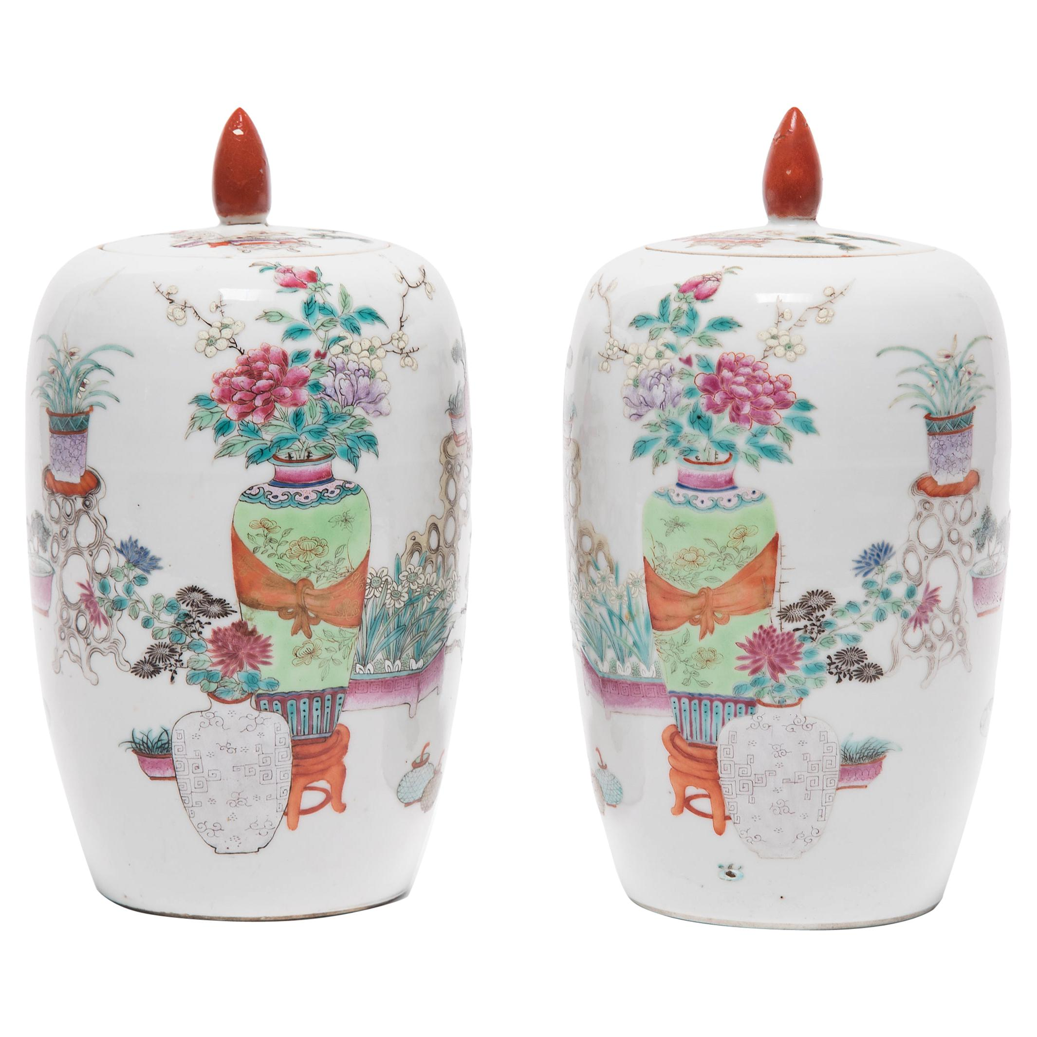 Pair of Petite Chinese Famille Rose Ginger Jars, c. 1900