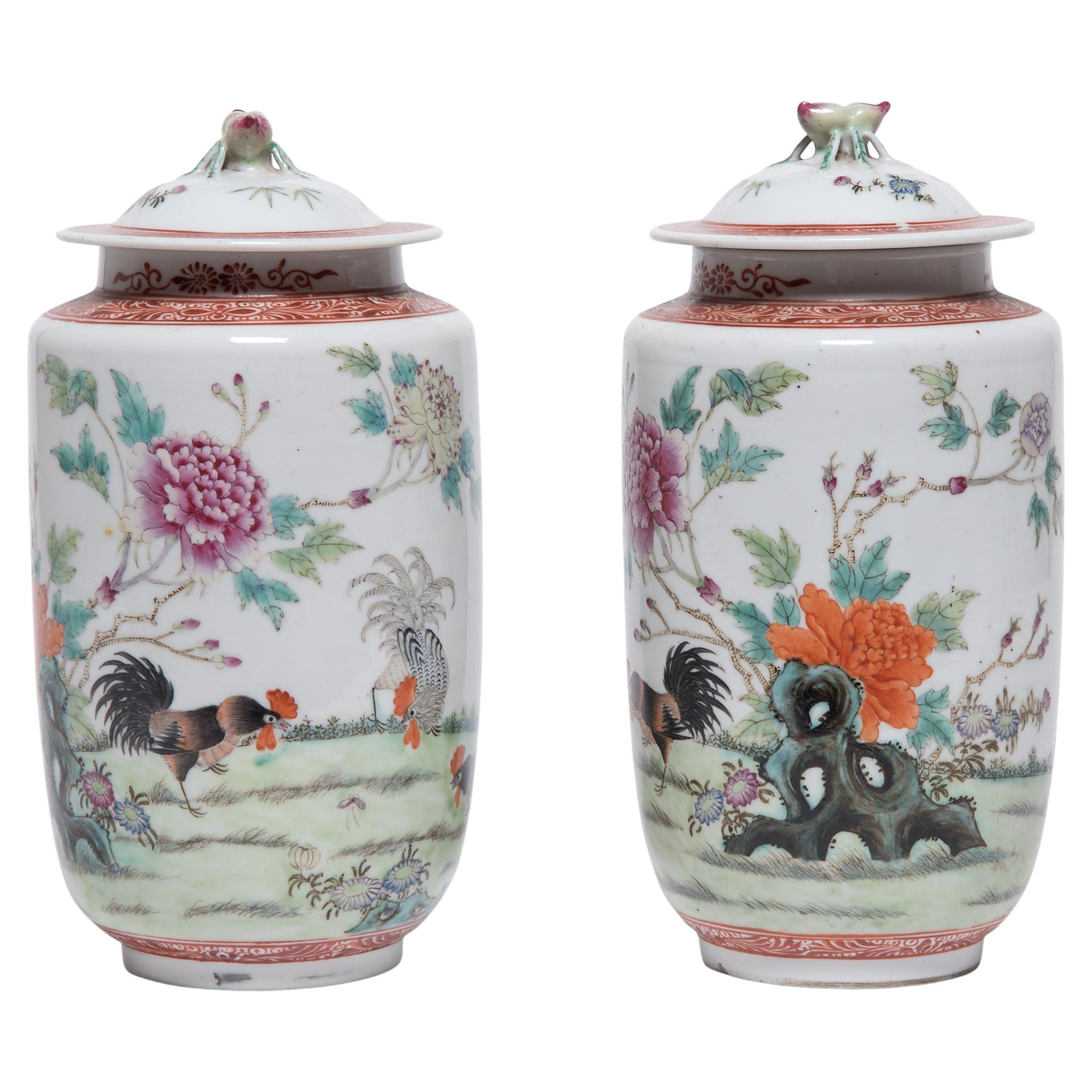 Pair of Petite Chinese Famille Rose Rooster Jars, c. 1900