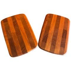 Pair of Petite Danish Modern Teak Butcher Block Cutting Boards