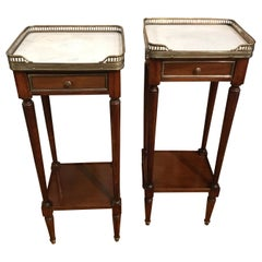 Pair of Petite Directoire Style Marble-Top Galleried Side Tables