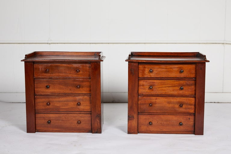 William IV Pair of Petite English Mahogany Chests For Sale