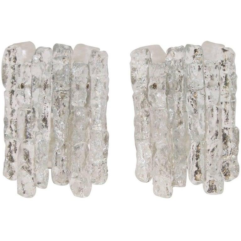 Pair of Petite Ice Glass Kalmar Sconces (Six Available)