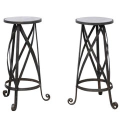 Pair of Petite Italian Midcentury Drink Tables with Iron Base and Mirrored Tops