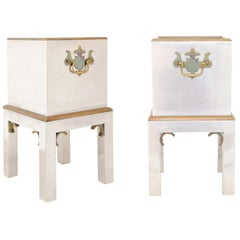 Pair of Petite Italian Vintage Steel and Brass Boxes on Stands from the 1970s