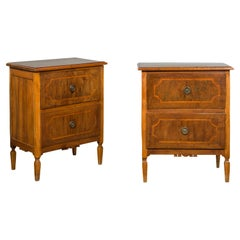 Pair of Petite Italian Walnut Two-Drawer Chests with Banding and Carved Aprons