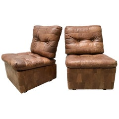 Pair of Petite Leather Chairs by De Sede