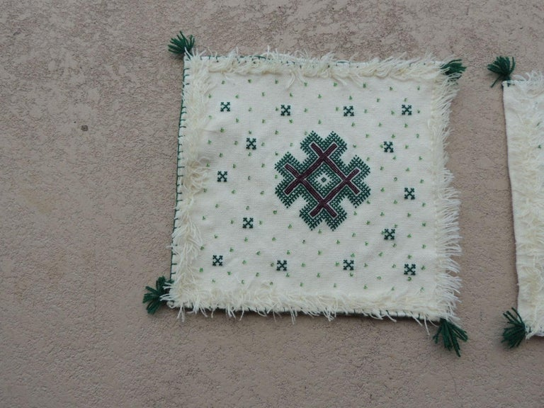 Pair of Petite Moroccan beaded and embroidered pillow covers with tassels. Small glass beads all around the embroidery. Hand stitched. (NO INSERTS) They are easily fill with poly-fill. Size: 14