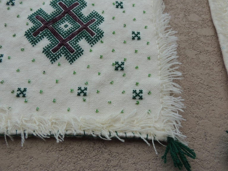 Moorish Pair of Petite Moroccan Beaded and Embroidered Pillow Covers with Tassels For Sale