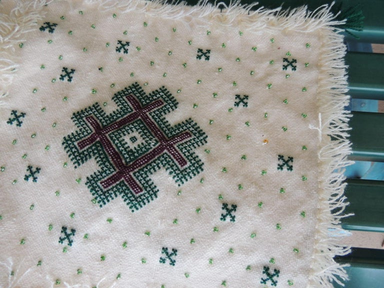 Pair of Petite Moroccan Beaded and Embroidered Pillow Covers with Tassels In Good Condition For Sale In Wilton Manors, FL