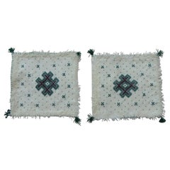 Pair of Petite Moroccan Beaded and Embroidered Pillow Covers with Tassels
