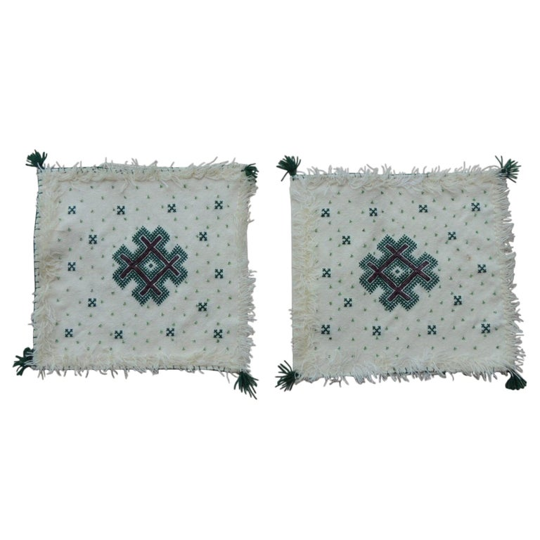 Pair of Petite Moroccan Beaded and Embroidered Pillow Covers with Tassels For Sale