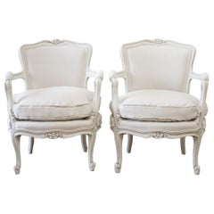 Pair of Petite Painted Linen Upholstered Louis XV Style Open Armchairs