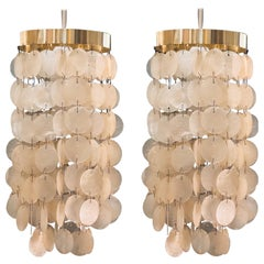 Pair of Petite Pendant Lamps Capiz Shell and Polished Brass Frame