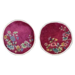Pair of Petite Round Chinese Art Deco Rugs